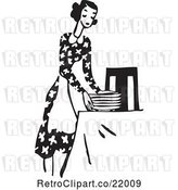 Vector Clip Art of Lady in an Apron, Setting a Table by BestVector