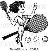 Vector Clip Art of Lady Playing Tennis by Prawny Vintage
