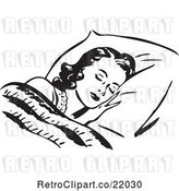 Vector Clip Art of Lady Sleeping Against a Fluffy Pillow by BestVector