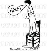 Vector Clip Art of Lady Standing on a Chair and Calling for Help by Prawny Vintage