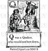 Vector Clip Art of Letter Page with Q Was a Quaker Who Would Not Bow down Text by Prawny Vintage