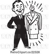 Vector Clip Art of Male Personal Shopper Holding a Business Dress Suit by BestVector
