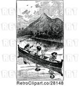 Vector Clip Art of Men in a Canoe by Prawny Vintage