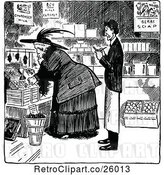 Vector Clip Art of Merchant and Shopping Lady by Prawny Vintage