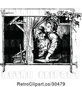 Vector Clip Art of Mother and Daugher by a Window by Prawny Vintage