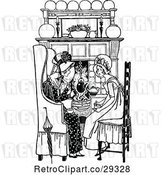Vector Clip Art of Mother and Daughter by a Fireplace by Prawny Vintage
