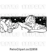 Vector Clip Art of Mother Tucking Her Baby in by Prawny Vintage