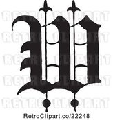 Vector Clip Art of Old English Abc Letter W by BestVector