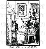 Vector Clip Art of Old Lady with a Cat by a Fireplace by Prawny Vintage