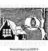 Vector Clip Art of Owl on a Bare Tree near a Home by Prawny Vintage