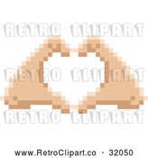 Vector Clip Art of Pixelized Retro 8-Bit Hands Forming a Human Love Heart Shape by AtStockIllustration
