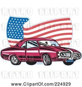 Vector Clip Art of Pontiac Car and Wavy American Flag Logo by Patrimonio