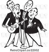Vector Clip Art of Quartet of Singing Men with a Banjo by BestVector