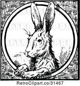 Vector Clip Art of Rabbit in a Circle by Prawny Vintage