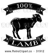 Vector Clip Art of Retro 100 Percent Lamb Food Banners by AtStockIllustration