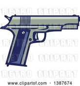 Vector Clip Art of Retro 1911 Semi Automatic Pistol by Patrimonio