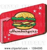 Vector Clip Art of Retro 1950s Cheeseburger and Text in a Red Rectangle by Patrimonio