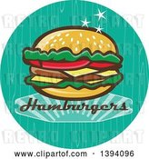 Vector Clip Art of Retro 1950s Cheeseburger and Text in a Turquoise Circle by Patrimonio