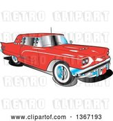 Vector Clip Art of Retro 1960 Red Ford Thunderbird Car by Andy Nortnik