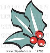 Vector Clip Art of Retro 3 Holly Berries and Leaves by Andy Nortnik