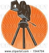 Vector Clip Art of Retro 35mm Motion Picture Camera on a Tripod in a Circle of Rays by Patrimonio