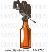 Vector Clip Art of Retro 35mm Motion Picture Camera on Beer or Whiskey Bottle by Patrimonio