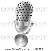 Vector Clip Art of Retro 3d Angled Desk Microphone by AtStockIllustration