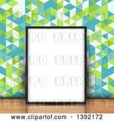 Vector Clip Art of Retro 3d Blank Picture Frame Leaning Against Geometric Wallpaper on a Wood Floor by KJ Pargeter