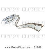 May 4th, 2018: Vector Clip Art of Retro 3d Cinema Film Reel and Strip by AtStockIllustration