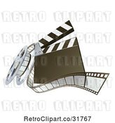 Vector Clip Art of Retro 3d Clapperboard and Film Reel by AtStockIllustration