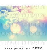 Vector Clip Art of Retro 3d Effect Sun Shining with Flares Through Clouds by KJ Pargeter