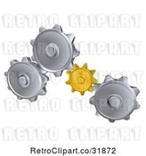 Vector Clip Art of Retro 3d Gold and Silver Gear Cogs by AtStockIllustration