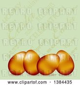 Vector Clip Art of Retro 3d Gold Easter Eggs over a Green Text Background by Elaineitalia