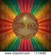 Vector Clip Art of Retro 3d Golden Disco Ball over Grungy Colorful Rays by Elaineitalia