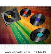 Vector Clip Art of Retro 3d Music Turntable Deck and Vinyl Records over Colorful Stripes by Elaineitalia