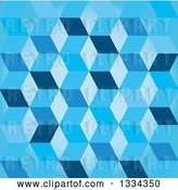 Vector Clip Art of Retro 3d Seamless Geometric Background of Cubes in Blue by Michaeltravers