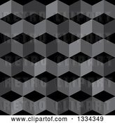 Vector Clip Art of Retro 3d Seamless Geometric Background of Cubes in Grayscale by Michaeltravers