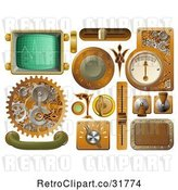 Vector Clip Art of Retro 3d Steampunk Styled Handles Knobs Screens and Switches by AtStockIllustration