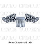 Vector Clip Art of Retro 3d Steel Metal Heraldic Winged Shield by AtStockIllustration