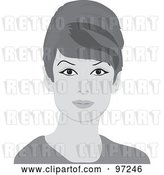 Vector Clip Art of Retro 60s Styled Grayscale Lady with Beehive Hair by Pams Clipart