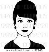Vector Clip Art of Retro 60s Styled Lady with Beehive Hair by Pams Clipart