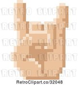 Vector Clip Art of Retro 8 Bit Pixel Art Styled Hand Gesturing the Sign of the Horns by AtStockIllustration