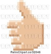 Vector Clip Art of Retro 8 Bit Pixel Art Styled Hand Giving a Thumb up by AtStockIllustration