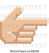 Vector Clip Art of Retro 8 Bit Pixel Art Styled Hand Pointed like a Gun by AtStockIllustration