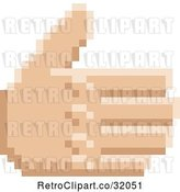 Vector Clip Art of Retro 8 Bit Pixel Art Styled Hand Reaching out to Shake by AtStockIllustration