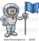 Vector Clip Art of Retro 8 Bit Pixel Art Video Game Styled Astronaut by AtStockIllustration