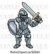 Vector Clip Art of Retro 8 Bit Pixel Art Video Game Styled Knight by AtStockIllustration