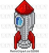 Vector Clip Art of Retro 8 Bit Pixel Art Video Game Styled Rocket by AtStockIllustration