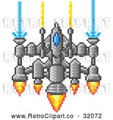 Vector Clip Art of Retro 8 Bit Pixel Art Video Game Styled Spaceship by AtStockIllustration