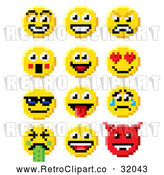 Vector Clip Art of Retro 8-Bit Smiley Faces by AtStockIllustration